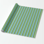 [ Thumbnail: Green, Dark Olive Green & Light Sky Blue Lines Wrapping Paper ]