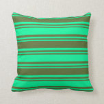 [ Thumbnail: Green & Dark Olive Green Pattern Throw Pillow ]