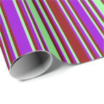 [ Thumbnail: Green, Dark Red, and Dark Violet Colored Pattern Wrapping Paper ]