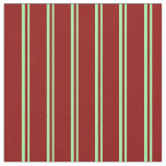 [ Thumbnail: Green & Dark Red Colored Pattern of Stripes Fabric ]