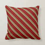 [ Thumbnail: Green & Dark Red Colored Pattern of Stripes Pillow ]