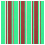 [ Thumbnail: Green, Dark Red & Light Yellow Pattern Fabric ]