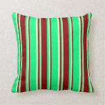 [ Thumbnail: Green, Dark Red & Light Yellow Pattern Pillow ]