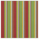 [ Thumbnail: Green, Dark Red, Sky Blue & Goldenrod Lines Fabric ]