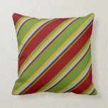 [ Thumbnail: Green, Dark Red, Sky Blue & Goldenrod Lines Pillow ]