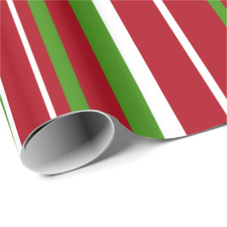 Green, Dark Red, White Stripe Christmas Gift Wrapping Paper