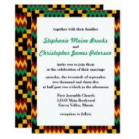 Green, Dark Red, Yellow Kente Cloth Invitation