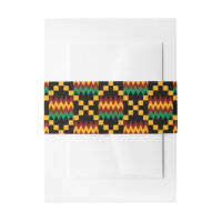 Green, Dark Red, Yellow Kente Wedding Invitation Invitation Belly Band
