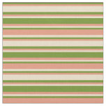 [ Thumbnail: Green, Dark Salmon, and Tan Stripes Fabric ]