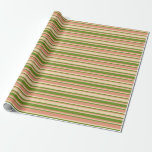 [ Thumbnail: Green, Dark Salmon, and Tan Stripes Wrapping Paper ]