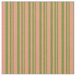 [ Thumbnail: Green & Dark Salmon Lines/Stripes Pattern Fabric ]