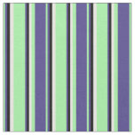 [ Thumbnail: Green, Dark Slate Blue, Black, and White Stripes Fabric ]