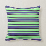 [ Thumbnail: Green, Dark Slate Blue, Black, and White Stripes Throw Pillow ]