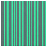 [ Thumbnail: Green & Dark Slate Gray Colored Pattern Fabric ]
