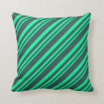 [ Thumbnail: Green & Dark Slate Gray Colored Pattern Pillow ]
