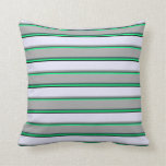 [ Thumbnail: Green, Dark Slate Gray, Dark Gray, Lavender, Black Throw Pillow ]