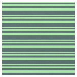 [ Thumbnail: Green & Dark Slate Gray Striped Pattern Fabric ]