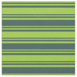 [ Thumbnail: Green & Dark Slate Gray Stripes Pattern Fabric ]