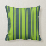 [ Thumbnail: Green & Dark Slate Gray Stripes Pattern Pillow ]