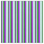 [ Thumbnail: Green, Dark Violet & Turquoise Colored Stripes Fabric ]