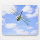 Green darner (Anax junius) flying against clouds Mouse Pad