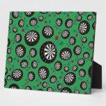 Green dartboard pattern display plaques