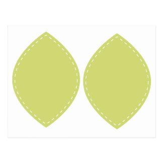 Green Dash border Leaf on Postcard for cutout
