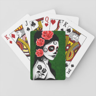Green Day of the Dead Sugar Skull Girl Deck Of Cards