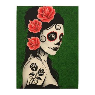 Green Day of the Dead Sugar Skull Girl Wood Wall Art