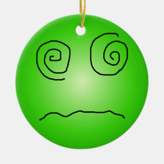 Green Dazed and Confused Smiley Ceramic Ornament