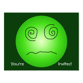 """Green Dazed and Confused Smiley 4.25"""" X 5.5"""" Invitation Card"""