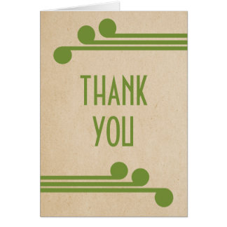 Green Deco Chic Thank You Card