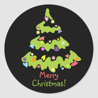 green decorated Christmas tree Classic Round Sticker