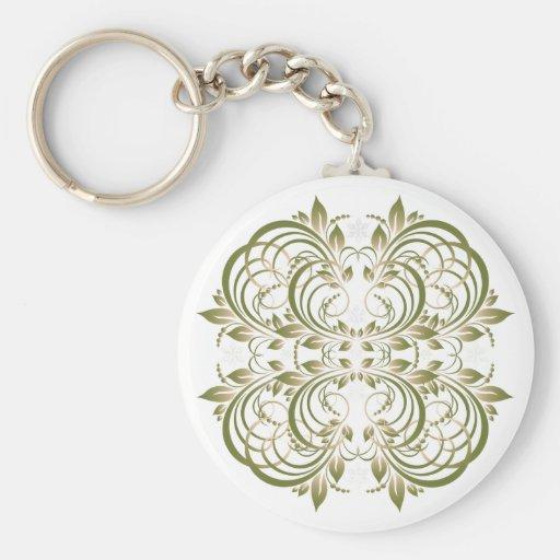green decorative floral pattern key chain