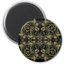green decorative floral pattern magnet