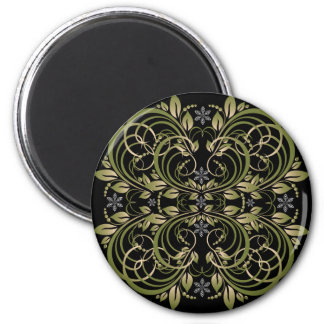 green decorative floral pattern magnet