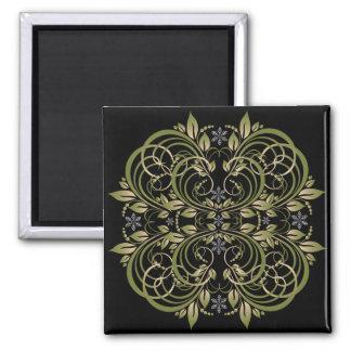 green decorative floral pattern fridge magnet