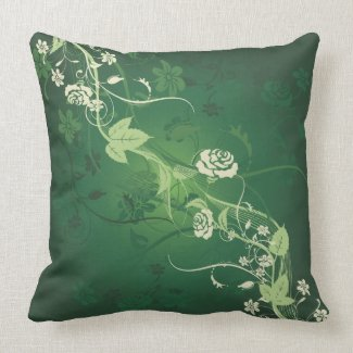 Green decorative floral pillow
