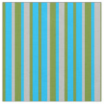 [ Thumbnail: Green, Deep Sky Blue & Grey Striped/Lined Pattern Fabric ]