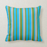 [ Thumbnail: Green, Deep Sky Blue & Grey Striped/Lined Pattern Throw Pillow ]