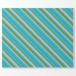 [ Thumbnail: Green, Deep Sky Blue & Grey Striped/Lined Pattern Wrapping Paper ]