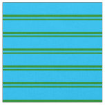 [ Thumbnail: Green & Deep Sky Blue Lines Pattern Fabric ]