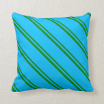 [ Thumbnail: Green & Deep Sky Blue Lines Pattern Throw Pillow ]