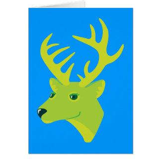 Green Deer Greeting Cards