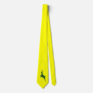 Green Deer Necktie on Yellow Background