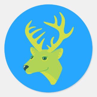 Green Deer Round Sticker