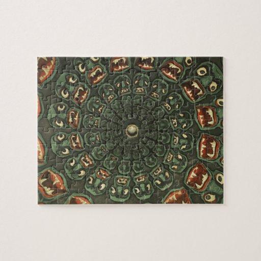 Green Demons Phenakistoscope Card Vintage Jigsaw Puzzle