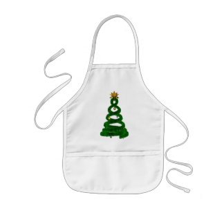 Green design pine and golden balls kids' apron