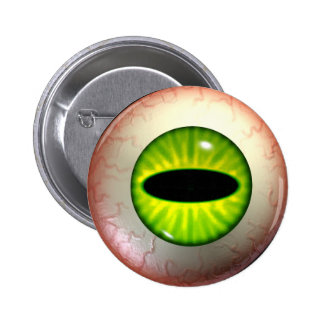 Green Devil-Eye-Ball Badge Button