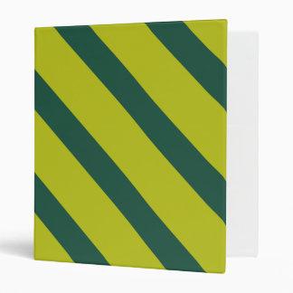 Green Diagonal Stripe 3 Ring Binders